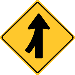 Merge left sign | Merging as a side road ends and joins another road