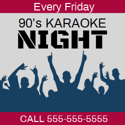Karaoke night? Nice way to relax. Promote your weekly events with colorful karaoke party event template. Customize the template into even more impressive design to attract all party people out there.