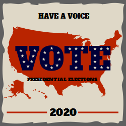 Vote Presidential Elections On Us Flag Background