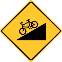Hill bicycle sign | Means you are approach a roundabout. Slow point.