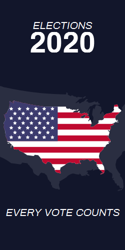 Elections 2020 | Every vote counts | Capital - US flag on black