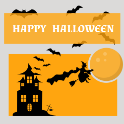 Happy Halloween on orange background color