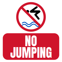 No Jumping Into The Pool Sign - Fast shipping. Choose from hundreds of designed templates and  easily customize - add elements, custom text and receive your future sign in highest quality possible.