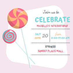 Birthday party invitation | Lollipop image