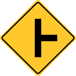 Side road at a perpendicular angle | Side road enters highway ahead.