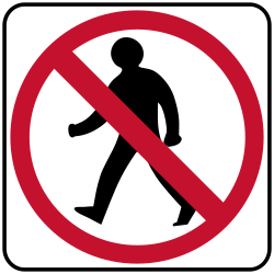 No Pedestrian crossing sign | Directs pedestrians to safer areas
