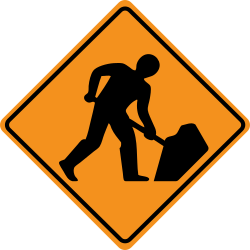 "Road works are areas of road that are being worked on, usually with coned off areas containing men working on the road. To warn drivers there are signs saying ""road works ahead""."