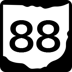 Ohio Two Digit state route shield sign in shape of state