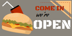 Get your We are Open sign with a mouthwatering burger graphics right from Square Signs. Choose this among our professionally designed templates and customize it according to your needs.