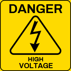 The warning danger template talks about high voltage. Hazardous voltage on this structure will shock, burn or kill you. Use this template to warn on being electrocuted or fall off beforehand.