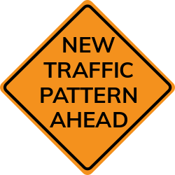 New traffic pattern ahead sign | About change in traffic patterns