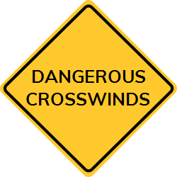 Dangerous Crosswinds Sign Warns Drivers About Strong Windy Sections