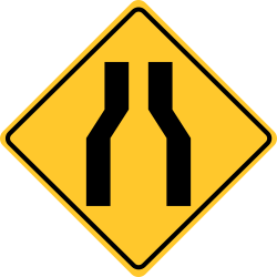 One lane road sign  Single way or road is narrow for two Way travel