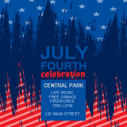 4th Of July Celebration Event Poster With The Us Flag