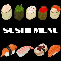 Sushi menu   Image of all type of Sushies