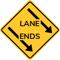Left lane ends traffic sign | Left lane on roadway will end ahead