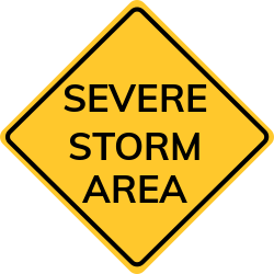 Severe storm area signs| Indicates warned area is in impending danger.
