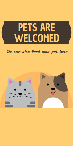 Pets are welcomed | Pet feeding place  | Orange background