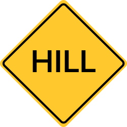 Hill sign | Area of land that is higher than the surrounding land