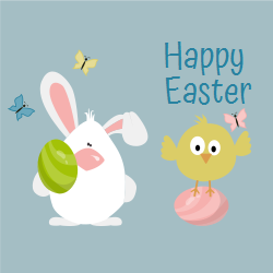 Easter template | Bunny with a cutie Bird and butterflies