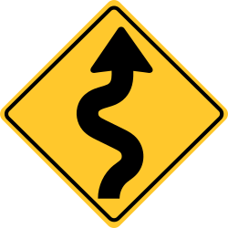 Winding road sign | Shows there are 3 or more curves in a row ahead