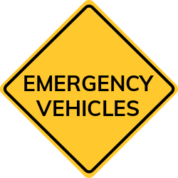 Emergency Vehicles sign for traffic and pedestrian safety concerns