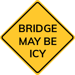 Bridge may be icy sign | Warns drivers to reduce speed for safety