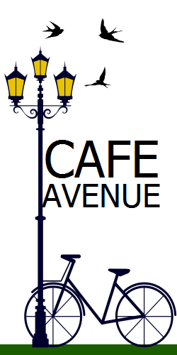 Cafe Avenue | the flying birds and a bike leans on street lamp