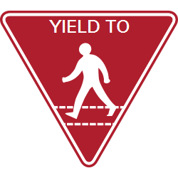 Yield to pedestrians sign enforces traffic regulation