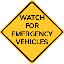 Emergency Vehicles Warning sign has informational messages for traffic