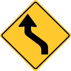 Reverse left curve sign | First turn is to the left