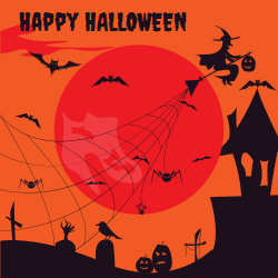 Happy Halloween template with a scary - spine-chilling graveyard scenery with spider webs, witches and bets under the full moon. Makes even scarier signs to drag in all potential zombie and Dracula guests.