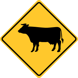 Cattle crossing sign | Warns to beware of possible cattle ahead