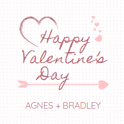 Valentine's Day template with hearts