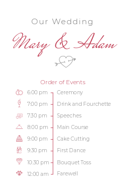 Wedding schedule board template