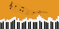 Running chords and a piano on the orange background
