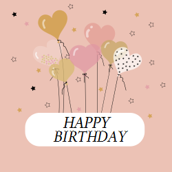 Happy Birthday template for your significant other | Heart balloons