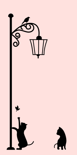 Usual, but on the other side beautiful black colored street lamp with a bird and cats playing around pictured on the pink background. the template will give a different look to your house or Office premises.