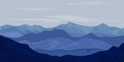 Mountain range look painted with light and dark blue colors