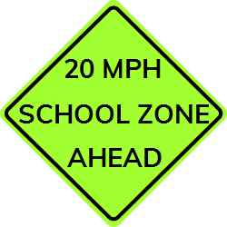 Warning about school zone sign which is  ahead