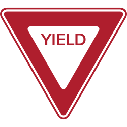 Two Colored Yield sign with a triangle shape