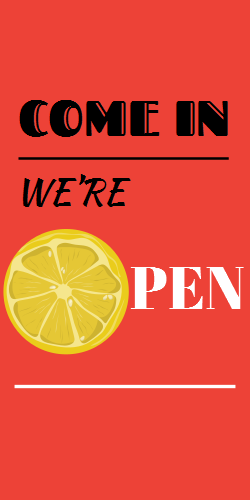 Come in we're open | Welcome sign for bar