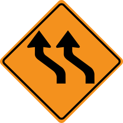 Traffic shift left sign | Direction change from main road