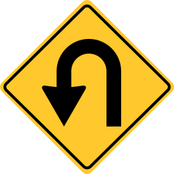 The Hairpin Curve sign | Warns of a change in the roadway alignment