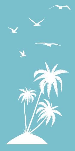 Palm trees on a small island - flying birds - Perfect Artwork!