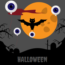 Halloween | Bats, eye Shaped balloons in the air
