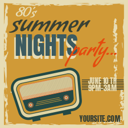 80's Summer night party | Customize to rock your party