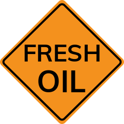 Fresh oil sign | Warns not to make any sudden moves or sharp cornering
