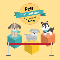 Colorful template for announcing pet exhibition. Custom change the dates or add a special message and you are ready to go!