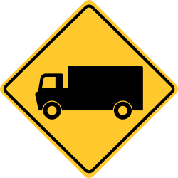 Alert pedestrians that trucks is crossing | Truck Crossing Sign